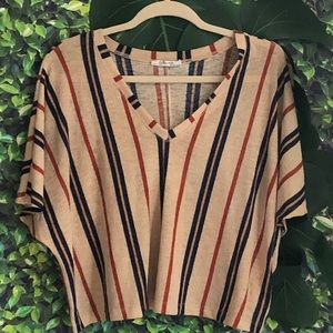Stripped V-Neck T-Shirt Size M